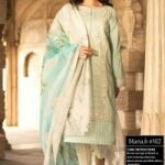 Maria.B Lawn 3pc Chiffon Printed Front Full Heavy Embroidery for Sale