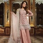 Maria B Mehsori Net Embroidery Suit with Embroidery Net Dupatta for Sale