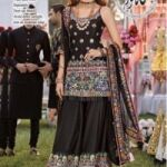 NOMI ANSARI INDIAN ORGANZA EMBROIDED FRONT WITH MIRROR WORK FOR SALE