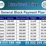 Blue World City ideal Location 5 8 10 Marla plots for sale on installments