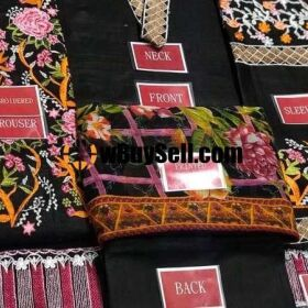 MULTI COLOUR THREAD HEAVY EMBROIDERED WORK ON LAWN FABRIC FOR SLEEVES FOR SALE