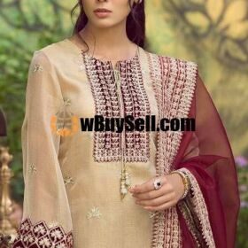 MARIA B ORGANZA EMBROIDERY SUIT