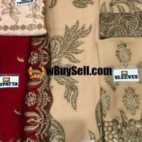 FOR SALE EMBROIDERY CHIFFON SHIRT DUPATTA TROUSER