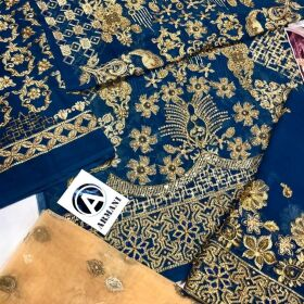 Chiffon Full Front Embroidered With Full Stones HandWork for Sale