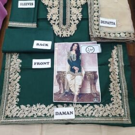 New Dsigne Dark Green Color Lawn Cotton Embroidered Front for SALE