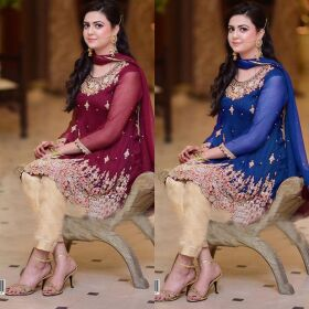 Aliza Waqar Chiffon Bridal Embroidery Suit Chiffon Embroidery Duppata for SALE