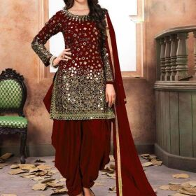 Indian Chiffon Bridal Empbroidery Suit with Chiffon Embroidery Dupatta for Sale