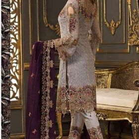 Ramsha Chiffon Embroidery Suit Chiffon Embroidery Duppata for Sale