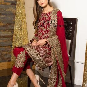 RED LOVER Gulwarun Dori & Sequence Work Embroidery for Sale