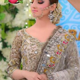 Nida Yasir bridal net Embroidery maxi with embroidery net Dupatta fro Sale