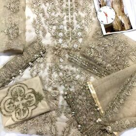 Net Full Heavy Seqwence Embroidered Front (With All Over Handwork Pearls) For Sale