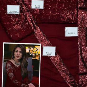 AYEIZA KHAN Embroidered Chiffon Saree for Sale