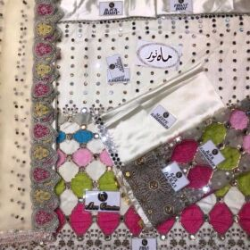 Front net heavy multi embroidery with sequence work & mirror hand work for Sale