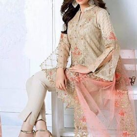 Gul Ahmed net embroidery suit with net embroidery dupatta now again available for Sale
