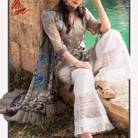 MARIA B Front on Bareeza CAMBRIC fully embroidered with boring cutwork for Sale