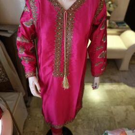 2 Piece Fabric Shot Silk Full Embroidery and Touching for Sale